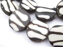 Batik Bone Beads - Full Strand of Fair Trade African Beads - The Bead Chest (Circular, Zebra Design)
