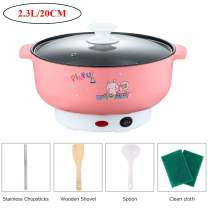 110V Electric Skillet Rice Cooker 4-In-1 Mini Heating Pan Non-Stick Electric Hot Pot with Lid for Cook Rice Fried Noodles Stew Soup Steamed Fish Boiled Fried Hot Dog Steak (2.3L without Steamer, Pink)