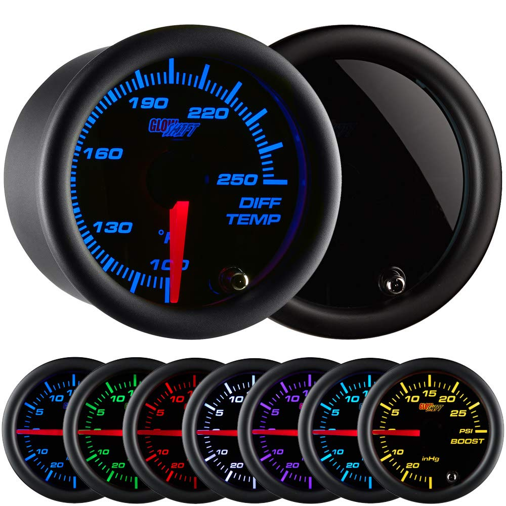 """GlowShift Tinted 7 Color 250 F Rear Differential Temperature Gauge Kit - Includes Electronic Sensor - Black Dial - Smoked Lens - for Car & Truck - 2-1/16"""" 52mm"""