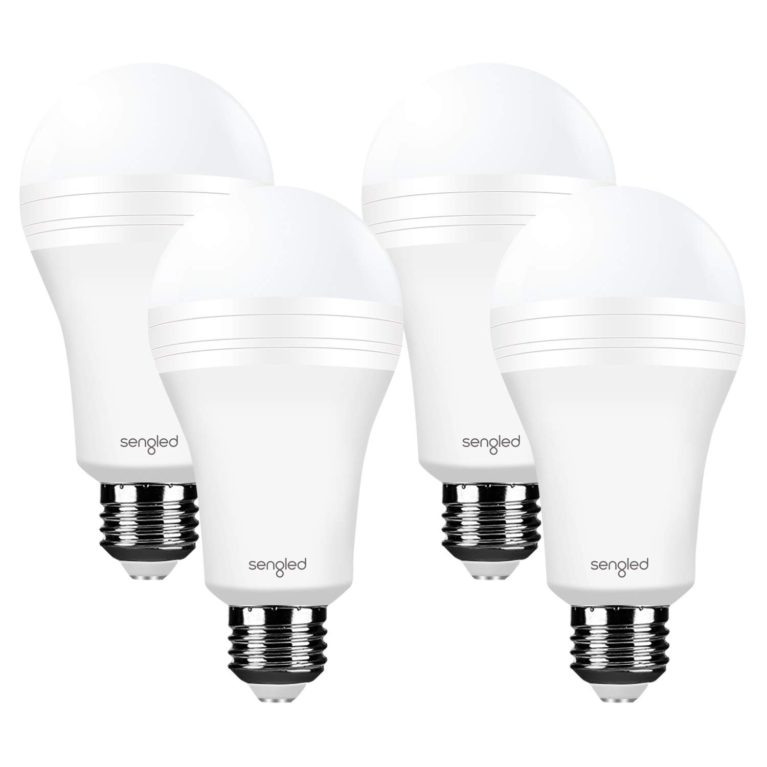 Sengled Everbright Rechargeable Light Bulb Battery Backup Power Outage Emergency Light for Home up to 3.5 Hours Flashlight 3000K Warm White A19 40W Equivalent LED Bulbs, 4 Pack