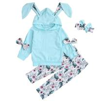 My First Easter Toddler Girls 3D Rabbit Ear Hoodie with Bow + Floral Print Pants + Headband 3Pcs Easter Outfits