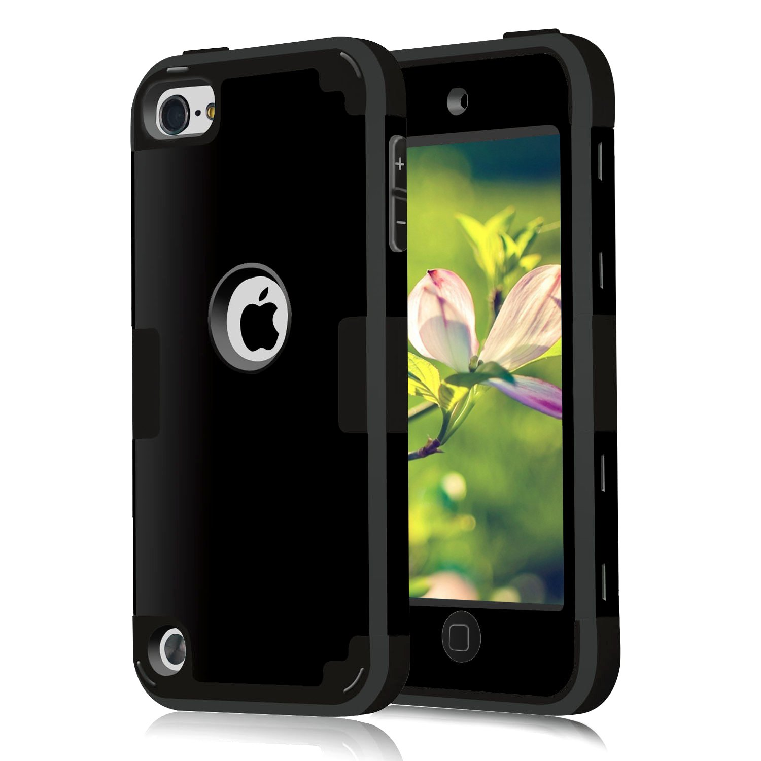 Case for iPod Touch Cases 7 for iPod Touch 7th 6th 5th Generation Case for iPod Touch 6th Generation Case, CheerShare 3 in 1 Hard PC Case + Silicone Shockproof Heavy Duty Cover Protective Case (Black)