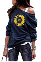 Yanekop Womens Sunflower Printed Off Shoulder Sweatshirt Pullover Casual Top Shirts