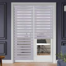 """SEEYE Zebra Shade Blinds Horizontal Window Curtain Day and Night Blind Dual Layer Shades Easy to Install 33.5"""" x 90"""", Grey"""