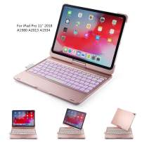 BHUATO Compatible iPad Pro 11 Inches 2018 iPad Keyboard Case 360 Rotate 180 Flip Wireless Bluetooth 7 Color Backlit Auto Wake Sleep Light & Thin Tablet Smart Protector Supports Pencil 2nd Gen Charging