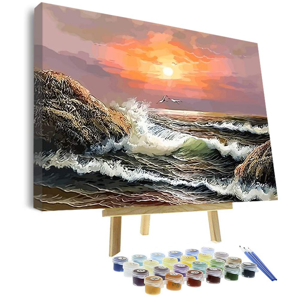 Vigeiya 16x20in Oil Paint by Numbers for Adults Beginners Include Framed Canvas and Wooden Easel with Brushes and Acrylic Pigment (Sea 4)