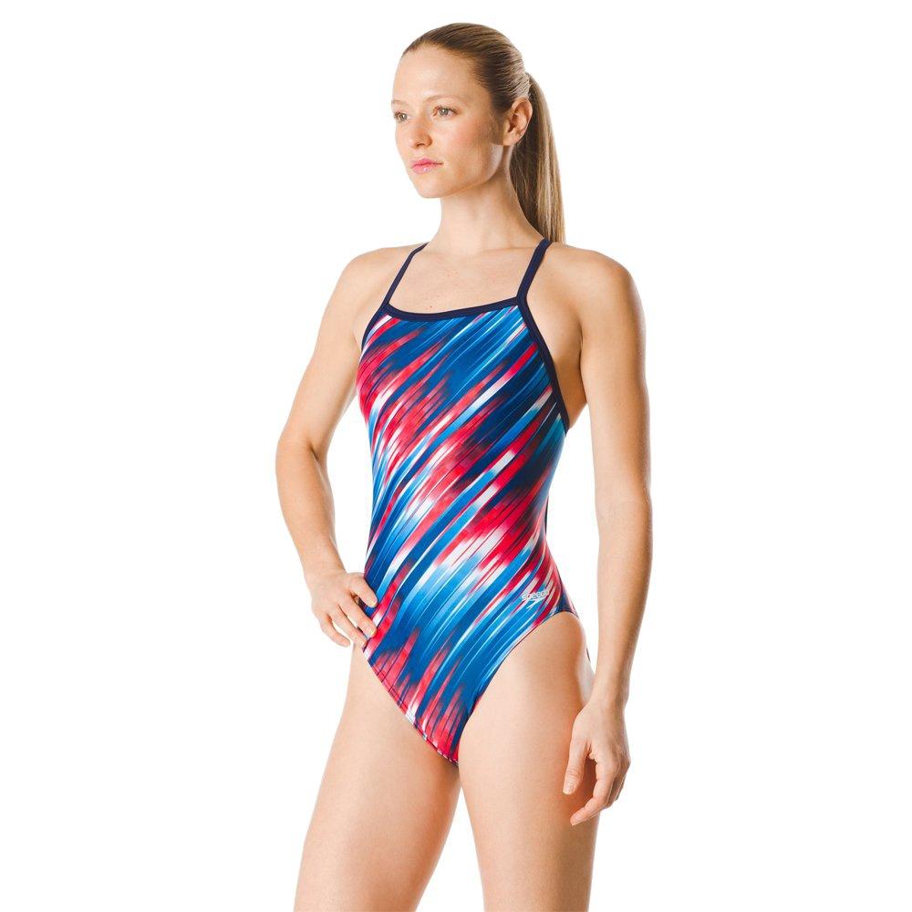 Speedo Womens Swimsuit One Piece Powerflex Flyback Striped Adult Team Colors