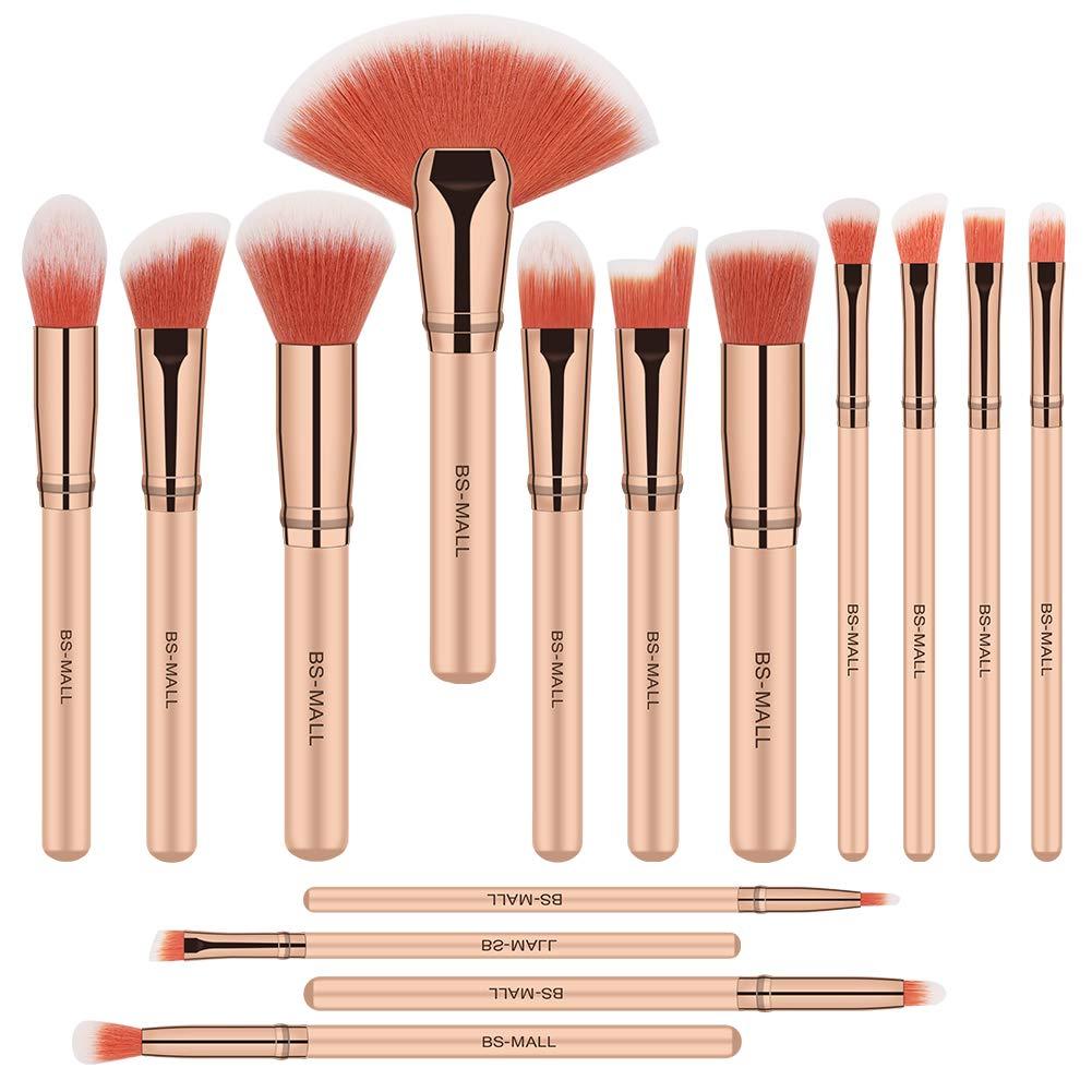 BS-MALL Makeup Brush Set, 15 PCS Premium Synthetic Makeup Brushes Foundation Eyebrow Eyeshadow Concealer Blending Eyeliner Comestic Brushes Pink