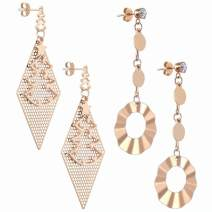 Fashion Rose Gold Dangle Earrings Statement Drop Silver Earrings 2 Pairs