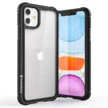 SWITCHEASY iPhone 11 Clear Case - Glass Rebel Defense Shield Military Grade Drop Tested Cover, Tempered Glass Back + Carbon Protective Frame + Shockproof Soft TPU Bumper (Metal Black)