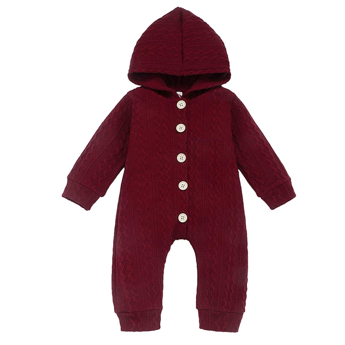 Baby Boys Girls Knitted Sweater Jumpsuit Unisex Toddler Long Sleeve Romper Pure Color Autumn Winter Outfit