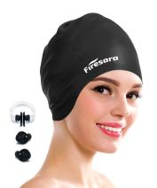 Firesara Swim Cap Cover Ears for Long Hair, Silicone Swimming Cap for Dreadlocks or Short Hair Unisex Premium Earmuffs for Women Men Adult Youths Keeps Hair Clean Ears Dry