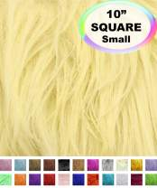 "Barcelonetta | Faux Fur Squares | Shaggy Fur Fabric Cuts, Patches | Craft, Costume, Camera Floor & Decoration (Banana, 10"" X 10"")"