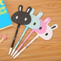 WIN-MARKET Animal Lovely Rabbit Face Gel Ink Pen Cute Kawaii Black Writing Pens Ballpoint Black Ink Gel Pen Party Gift Gel Ink Pens Funny School Stationery Office Supplies(6PCS)