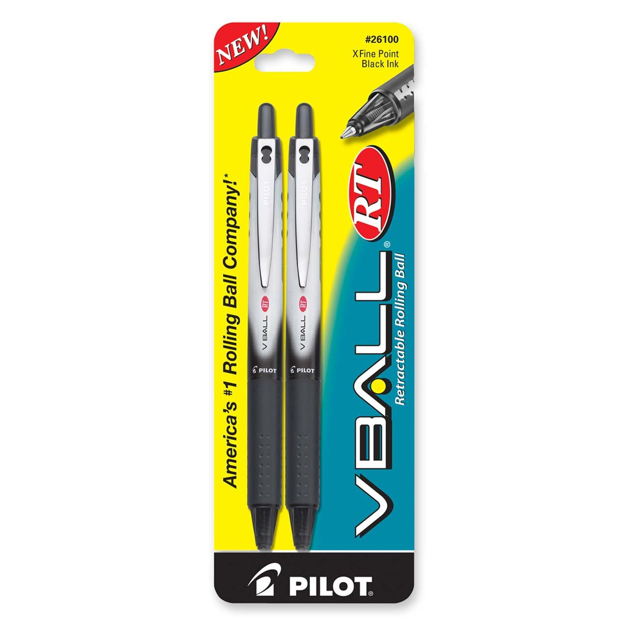 PILOT VBall RT Refillable & Retractable Liquid Ink Rolling Ball Pens, Extra Fine Point, Black Ink, 2-Pack (26100)