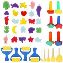 39pcs Painting Kits for Kids, YGDZ Early Learning Kids Paint Set Sponge Painting Foam Brushes Art Craft Drawing Tools for Kids Toddlers