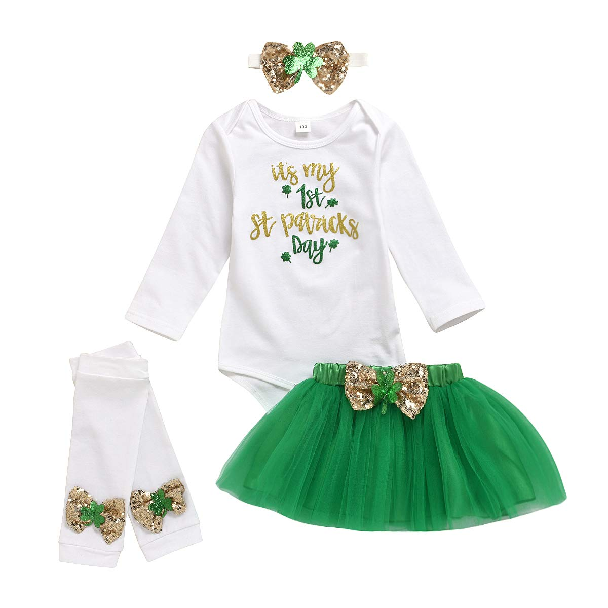 My 1st St.Patrick's Day Baby Girls Clothes Shamrock Rompers+ Tutu Tulle Skirt and Headband Outfits Set White