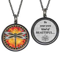 """Spirit Lala Medium Yellow Dragonfly""""Be Your Own Kind of BEAUTIFUL"""" Reversible Pendant Necklace with Gift Box"""
