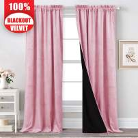 Pink Velvet Blackout Curtains 84-inch - Girls Room Soft Premium Velvet Curtain Drapery with 100% Room Darkening Lining Keep Warm Out Noise Block Panels for Baby Sleeping, W52 x L84 inches, 2 Pieces