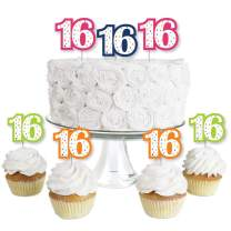16th Birthday - Cheerful Happy Birthday - Dessert Cupcake Toppers - Colorful Sweet Sixteen Birthday Party Clear Treat Picks - Set of 24