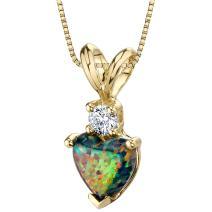 14 Karat Yellow Gold Heart Shape Created Black Opal Diamond Pendant