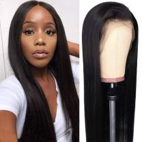 Crissel Lace Front Wigs Human Hair, 150% Density Pre Plucked with Baby Hair, Brazilian Straight 13x4 Lace Frontal Wigs Human Hair for Black Women Natural Color(14 Inch)