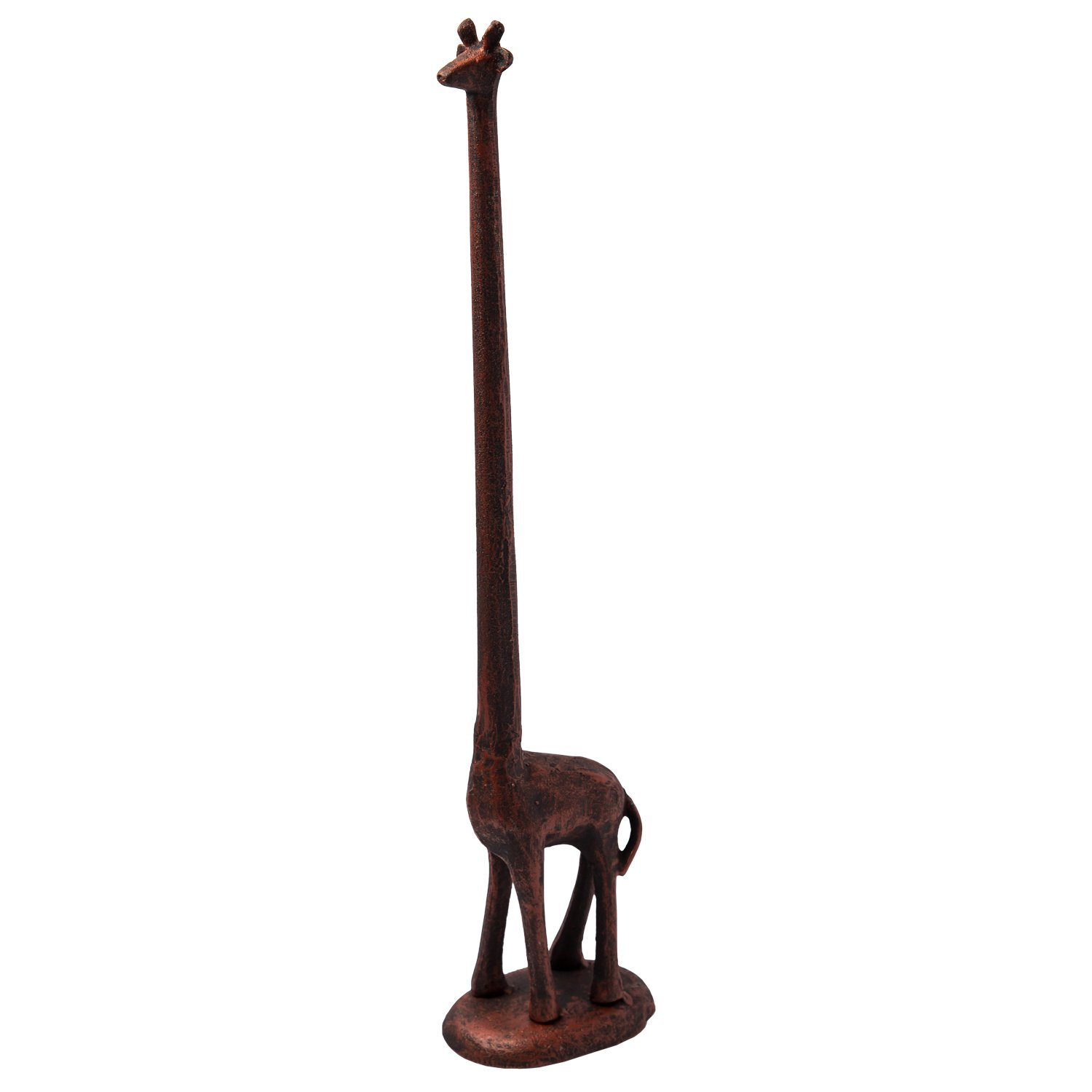 Paper Towel Holder or Free Standing Toilet Paper Holder- Cast Iron Giraffe Paper Holder - Bathroom Toilet Paper Holder or Stand Up Paper Towel Holder - Rustic Cooper w/Vintage Finish by Comfify