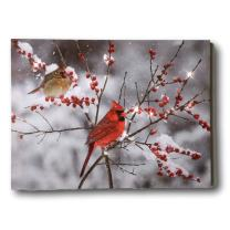 BANBERRY DESIGNS Cardinal Canvas Print - LED Lighted Print with Cardinals and Berries - Winter Scene Artwork - Cardinal Pictures
