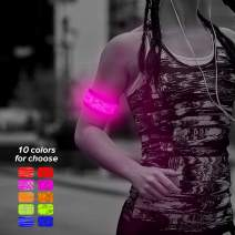 Higo LED Armband, 2ed Generation Heat Sealed Glow in The Dark LED Slap Bracelet, Light Up Sports Event Wristband for Running, Cycling, Hiking, Jogging