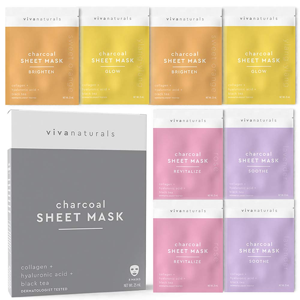 Face Mask for Korean Skincare - Sheet Mask for Detoxifying, Cleansing, Moisturizing and Brightening Skin   Dermatologist Tested Charcoal Face Mask with Collagen & Hyaluronic Acid for Soft Skin, 8 Pack