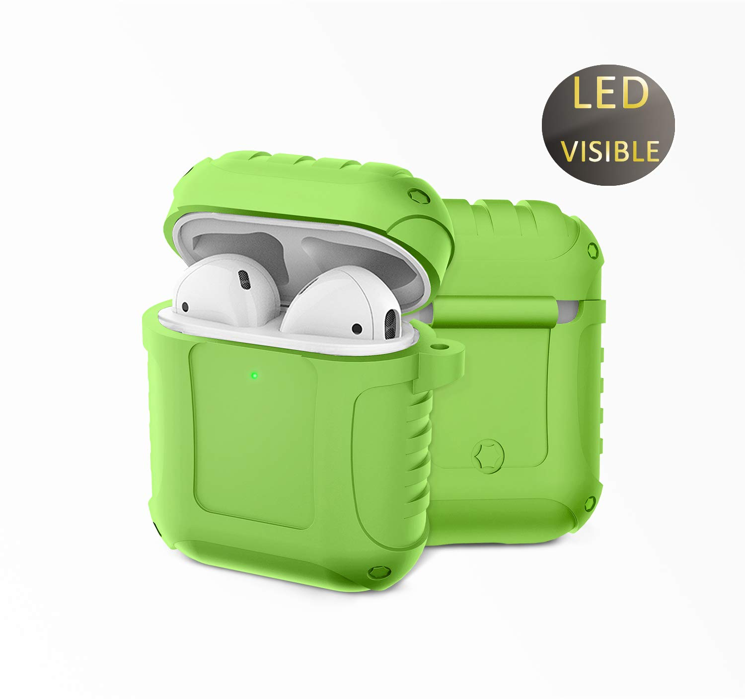 Airpods Case Protective Silicone Cover 1&2, Charging Case with Metal Keychain, Shockproof Scratch Resistant Earpods Case (Green)