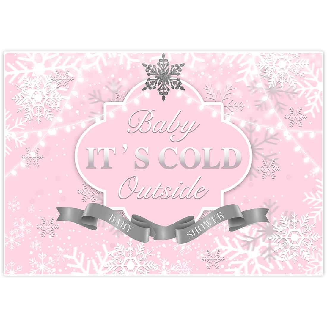 Allenjoy 8x6ft Baby It's Cold Outside Backdrop Winter Wonderland Girl Princess 1st Birthday Baby Shower Baptism Pink Sliver Snowflake Sparkle Glitter Photography Background Banner Decorations Props