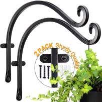 Hanging Plant Bracket for Hand Forged Outdoor (2 Pieces - 12 inches) More Stable and Sturdy Black Plant Hooks