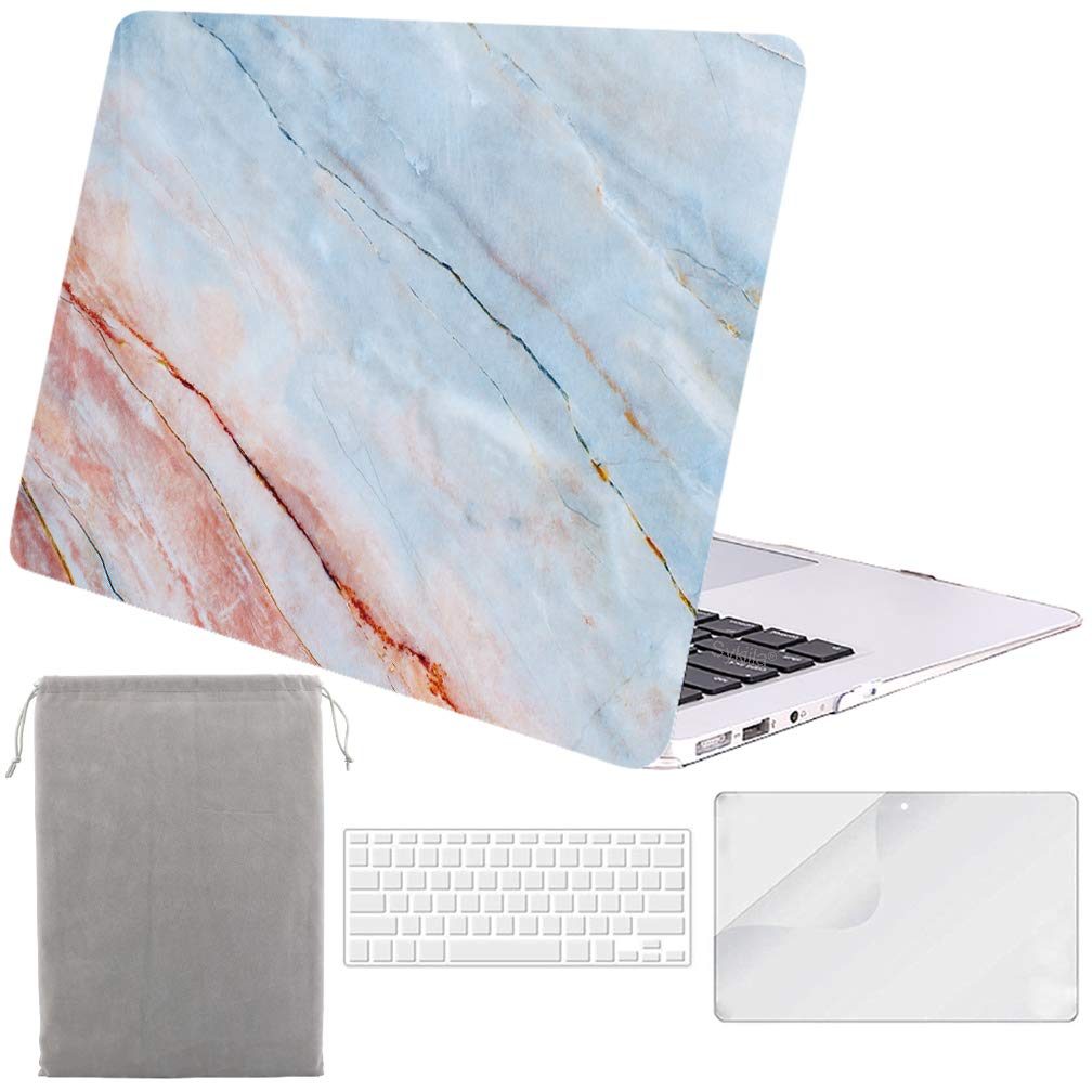 Sykiila for MacBook Air 11 Inch Case Hard Cover 4 in 1 HD Screen Protector & TPU Keyboard Cover & Sleeve Protective Folio Case for Model A1370 / A1465 - Pink Blue Marble