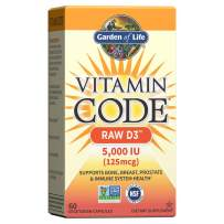 Garden of Life Raw D3 Supplement - Vitamin Code Whole Food Vitamin D3 5000 IU, Dairy and Gluten Free, Vegetarian, 60 Count Capsules   Color May Vary - Now with Organic Green Cracked Wall Chlorella