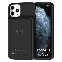 """NEWDERY Battery Case for iPhone 11 Pro Max, Support Wireless Charging, 5000mAh Extra Charging Accessories with Full Body Defender Edge, Ultra-Thin Compatible 6.5"""" iPhone 11 Pro Max - Black"""