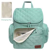 Landuo Diaper Bag Backpack for Mom with Changing Pad, Multi-Function Waterproof Travel Nappy Bags for Baby Care, Large Capacity, Stylish & Durable (Green)