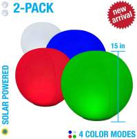 """2-PK Floating Pool Lights, 15"""" Globes, 4 Color Settings, Solar LED Balls, Inflatable, Waterproof, Floatable, Hangable, Night Mood Lights-Sphere Decorations-Pools-Backyard-Lawn-Pathways-Parties-Events"""