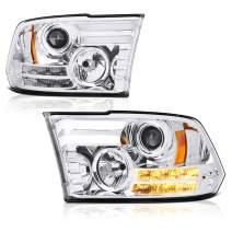[For 2013-2018 RAM 1500 2500 3500 Projector Headlamp Model] Tribal Edition OLED Tube Chrome Housing Headlight Assembly, Driver & Passenger Side