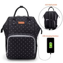 ELEOPTION Waterproof Diaper Backpack Large Capacity Baby Bag Nappy Bags for Mom Dad with Insulated Bottle Pockets and Quick Charge USB Port for Travel Baby Care (Polka Dot Black)