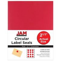 JAM PAPER Circle Label Sticker Seals - 2.5 Inch Diameter - Red - 120 Round Labels/Pack