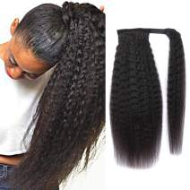 """Kinky Straight Ponytail Human Hair with Wrap Around Magic Tape, Brazilian Virgin Hair Clip in Extensions Wavy Yaki Pony Tail Color Natrual Black (16"""", 1B, Kinky Straight, Wrap Around)"""