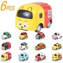 6-Pack Die-cast Cartoon Vehicles Toy Cars,Kids Race Car Gift Kits ,Random Style Party Favors Car Toy Play Set
