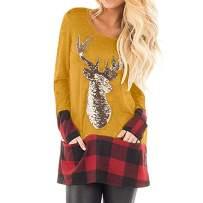 Franterd Christmas Plus Size Tops Women Christmas Plaid Splice Hem Santa Claus Pullover Sports Blouse for Jeans Legging