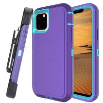 Lanyos Compatible iPhone 11 Pro Max Holster Case,Full Body Protection Hard PC Cover Built in Kickstand and 360 Degree Belt Clip Holster (6.5 inch 2019) (Purple-Blue)