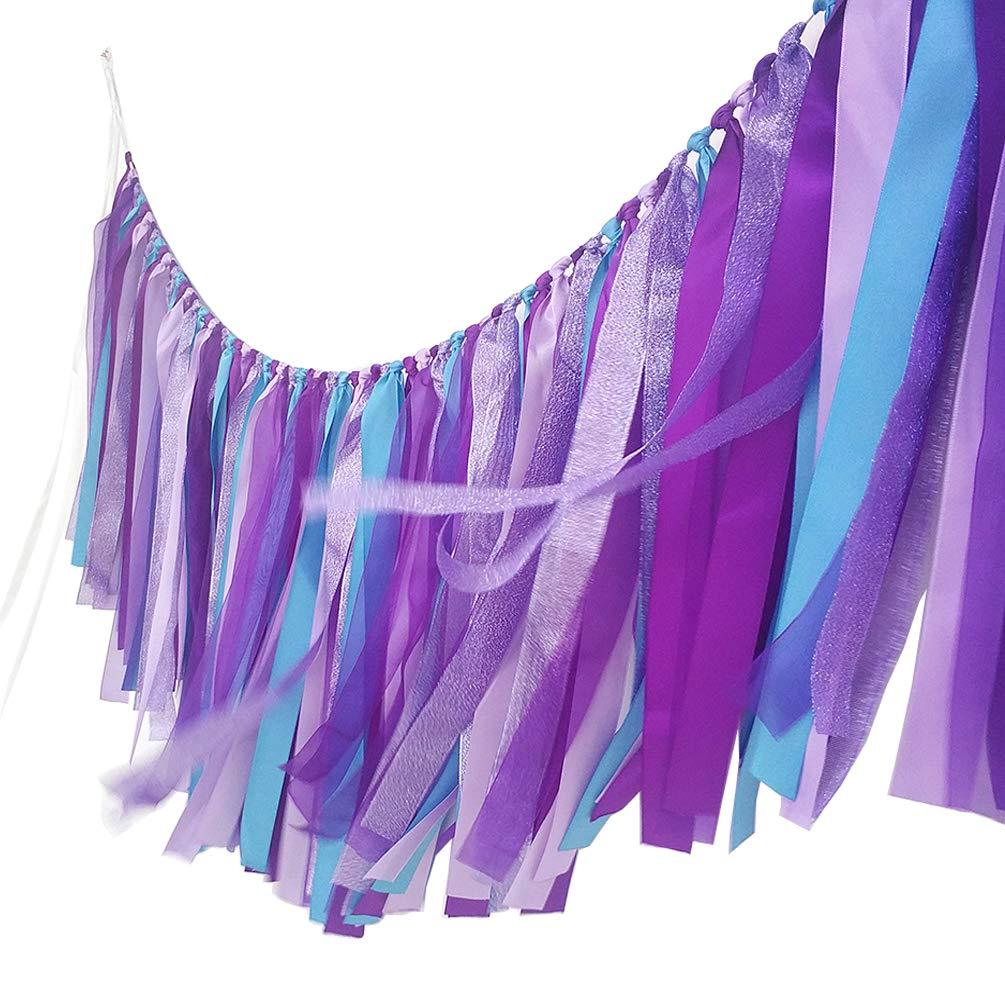 AZOWA Mermaid Tassel Garland Cotton Ribbon Banner for Mermaid Party Decorations Baby Shower Party Backdrops Nursery Photo Props (Mermaid (40''X 14''))