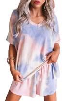 MEROKEETY Women's Tie Dye Printed Tee and Shorts Pajama Set Short Sleeve Comfy Sleepwear Lounge