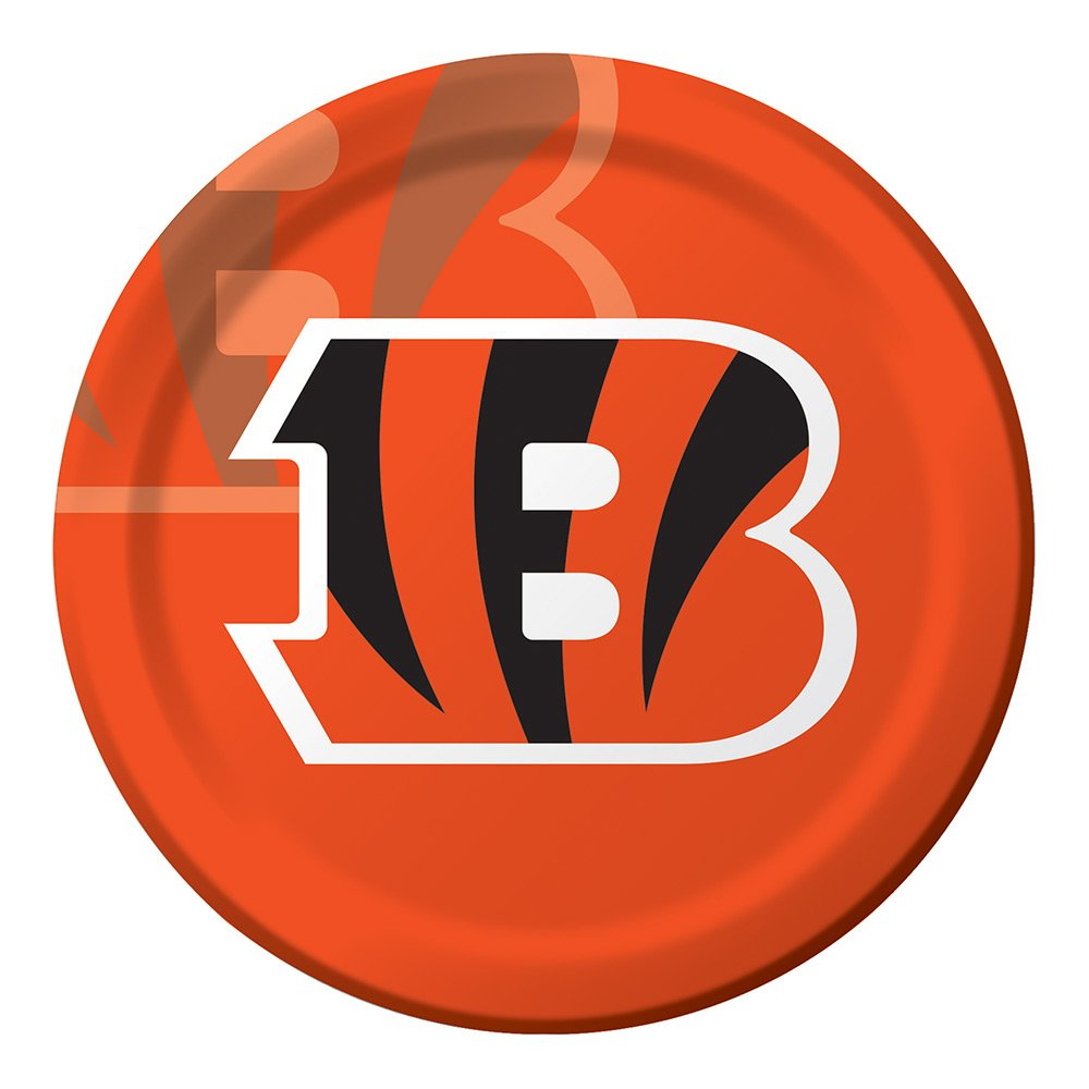 Creative Converting Officially Licensed NFL Dinner Paper Plates, 96-Count, Cincinnati Bengals
