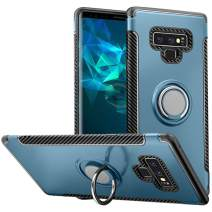 Hayder Galaxy Note 9 Case, Car Magnetic Kickstand 360 Degree Ring Holder Protection Cover (Cyan-Blue)