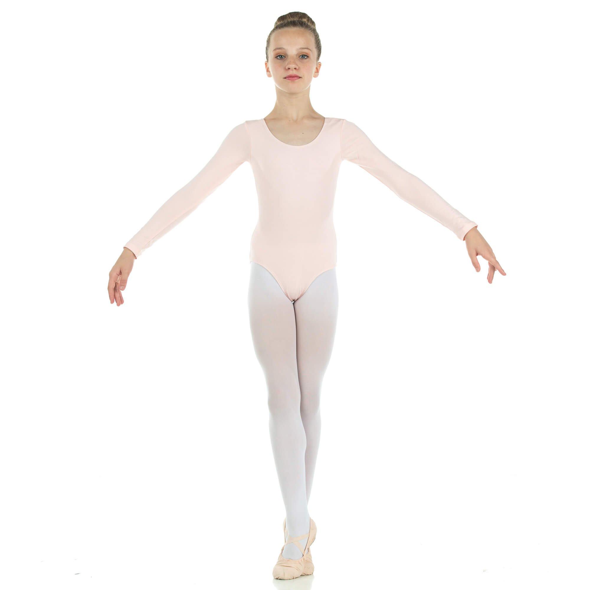 Danzcue Girls Cotton Long Sleeve Ballet Cut Leotard